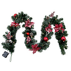 9  ft. LED Pre-Lit Frosted Poinsettia Garland