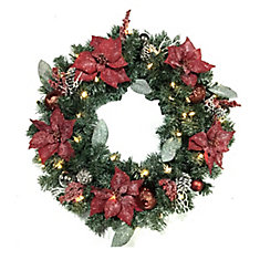 30-inch LED Pre-Lit Frosted Poinsettia Wreath