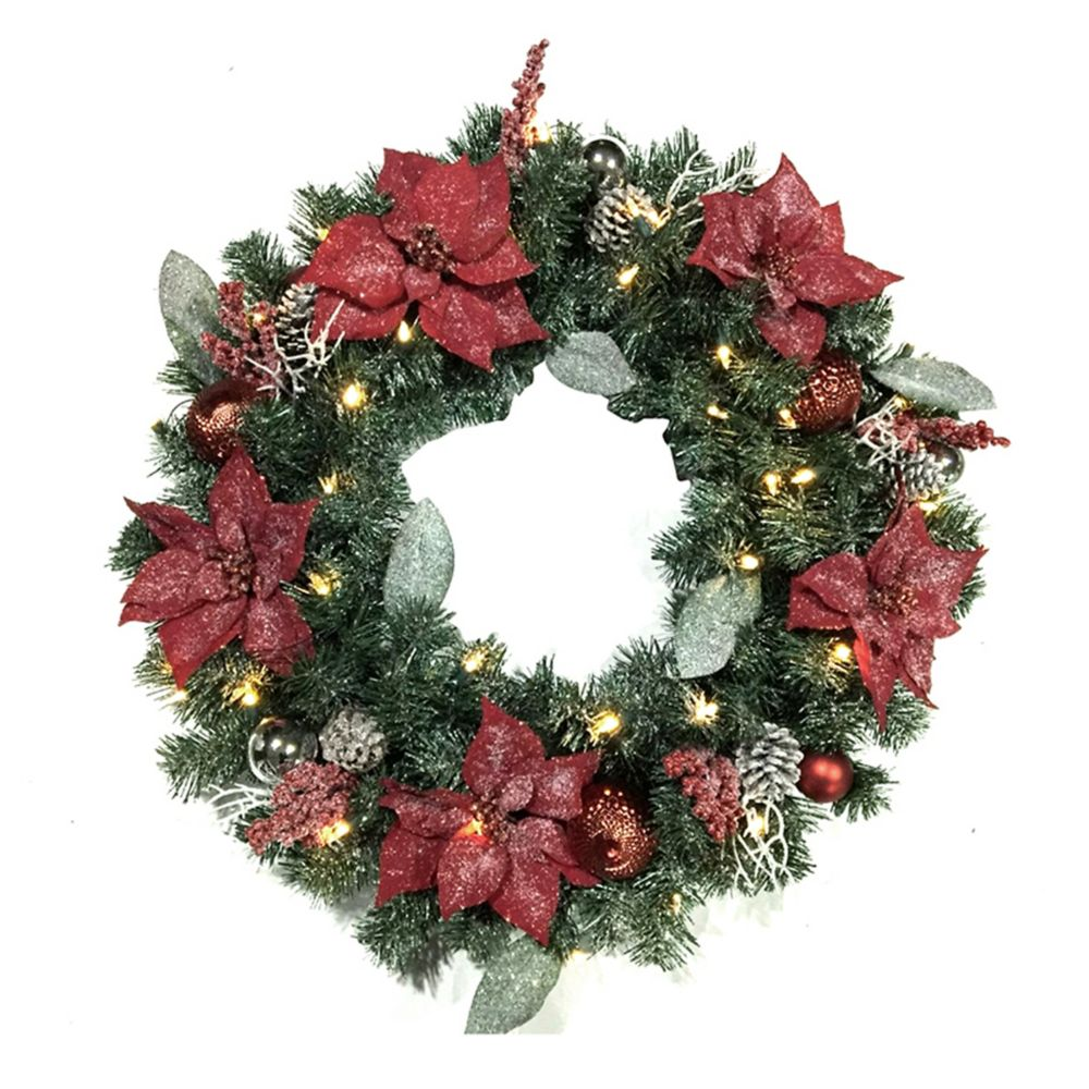 Home Accents Holiday 30-inch LED Pre-Lit Frosted Poinsettia Wreath