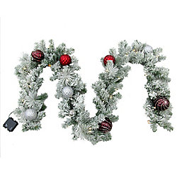 Home Accents Holiday 9  ft. 35-Light LED Flocked Shaughnessy Garland