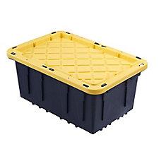 Bac robuste avec couvercle jaune, 45 L, noir