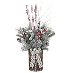 48-inch Flocked Mixed Pine Prelit Potted Tree