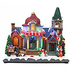 11-inch LED-Lit Church Village Decoration Set with Animated Tree