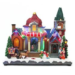 Home Accents Holiday 11-inch LED-Lit Church Village Decoration Set with Animated Tree