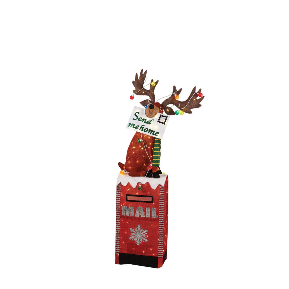 Home Accents Holiday 6 ft. 200-Light Warm White LED Moose on Mailbox Sculpture