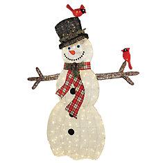 6 ft. 120-Light Warm White LED Snowman with Cardinals Sculpture
