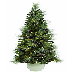 6.5 ft LED Pre-Lit Decorated Dusted Potted Tree