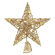 11-inch LED Gold Star Tree Topper 10 Warm White Lights