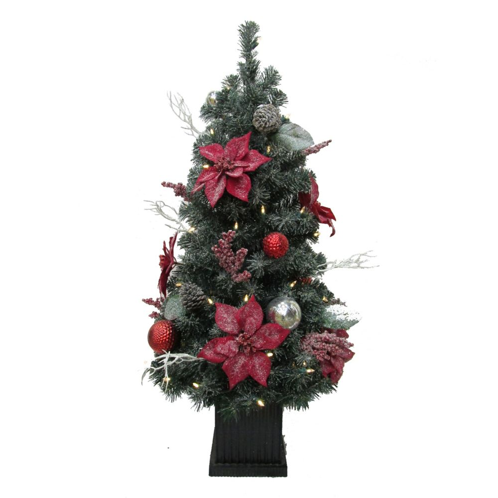 Home Accents Holiday 4 ft. LED Pre-Lit Battery Operated Frosted Poinsettia Porch Tree