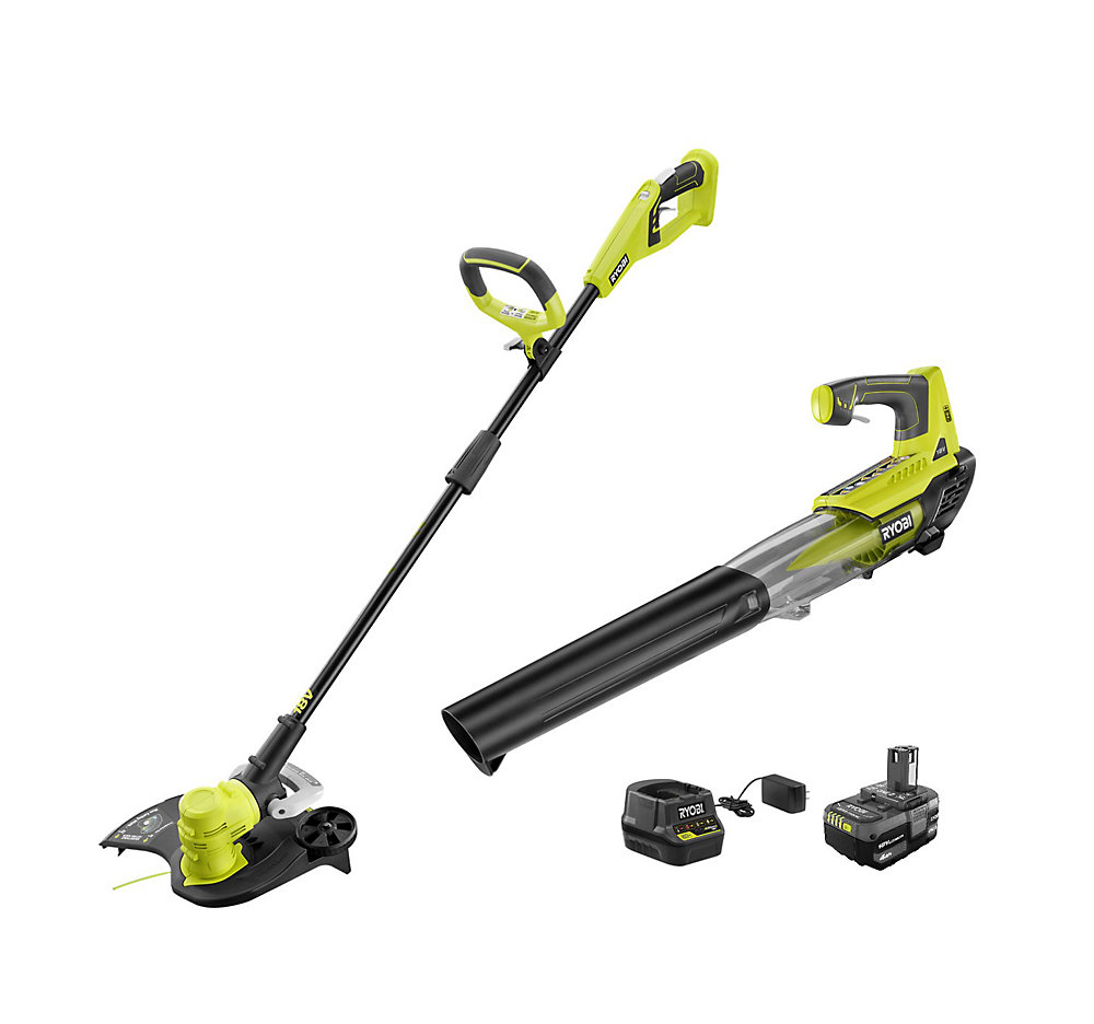 18V Li-Ion Cordless String Trimmer/Edger and Jet Fan Blower Combo Kit with Battery and Charger