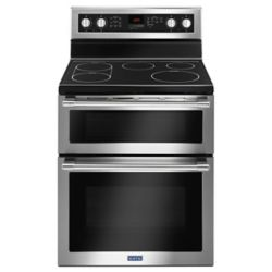 Maytag 6.7 cu. ft. Double Oven Electric Range with Self-Cleaning Convection Oven in Fingerprint Resistant Stainless Steel