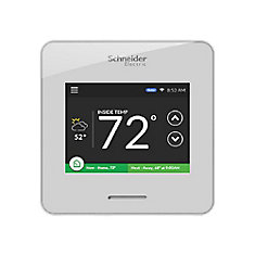 Wiser Air Programmable Wi-Fi Smart Thermostat with Touch Screen Display in White