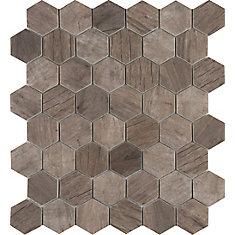 Driftwood Hexagon 11.02 Inch x 12.76 Inch Glass Mesh-Mounted Mosaic Tile (14.65 sq. ft. / case)