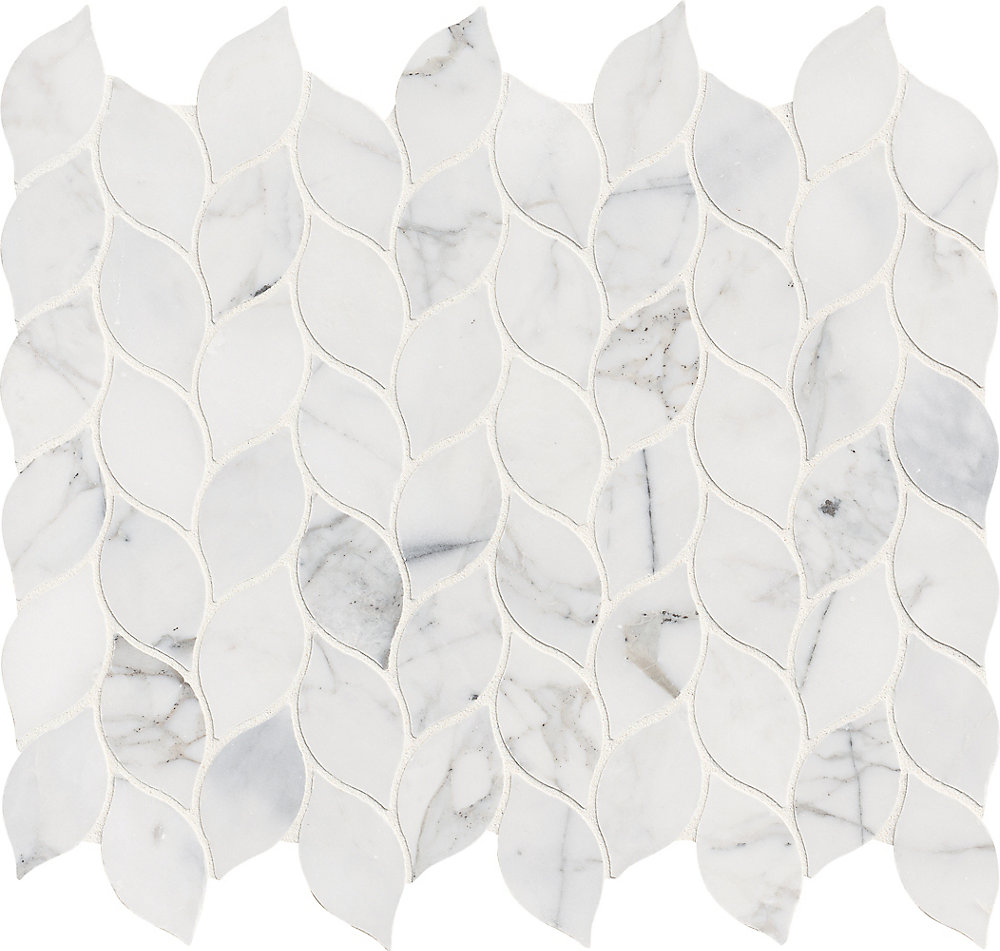 Calacatta Blanco 12 Inch x 13 Inch Polished Marble Mesh-Mounted Mosaic Tile (10.83 sq. ft. / case)