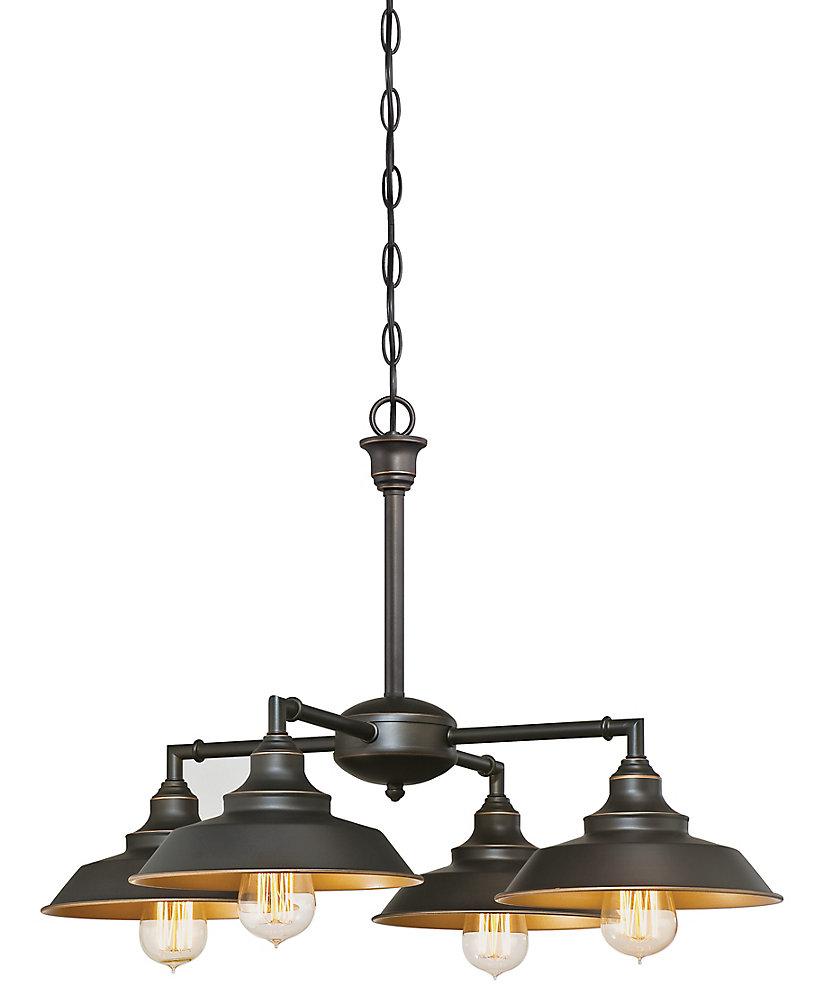 Iron hill 4 light chandelier or flush mount light fixture in bronze