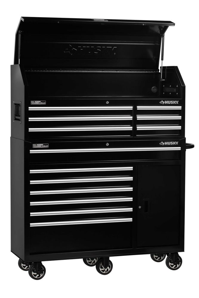 Husky 52-inch 13-Drawer Tool Storage Chest and Cabinet Combo in Black H52CH6TR7P