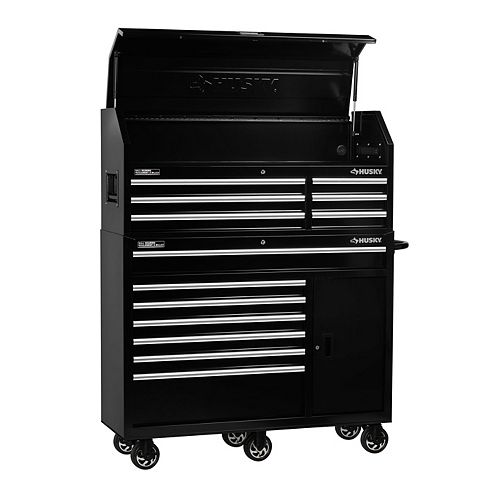 HUSKY 52-inch 13-Drawer Tool Storage Chest and Cabinet Combo in Black