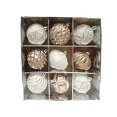 9-Piece Rose Gold Shatter-Resistant Ornaments