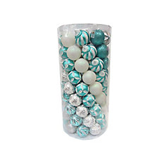 Turquoise and Silver Shatter-Resistant Ornaments (101-Pack)