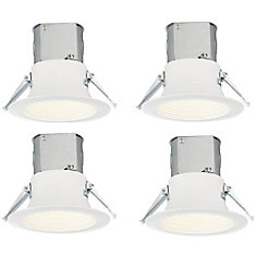 4-inch White Integrated LED Recessed Soffit Kit (4-Pack)