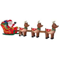 Home Accents Holiday 4.4 ft. x 16 ft. Inflatable Santa & Reindeer Outdoor Christmas Decoration