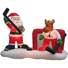 Airblown Inflatable Santa Hockey Scene Decoration