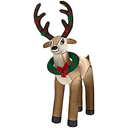 Home Accents Holiday 6 ft. Airblown Inflatable Reindeer with Wreath