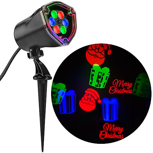 Whirl-A-Motion Merry Christmas LED Projection Spot Light in Red/Green/Blue