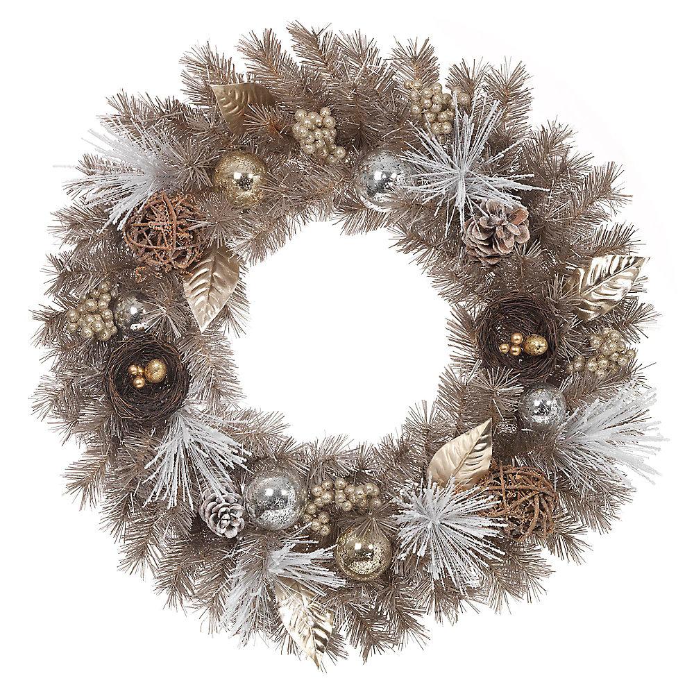 30-inch Gold Mixed Pine Unlit Wreath