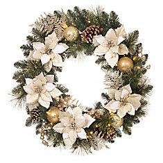 30-inch Gold Poinsettia Prelit Wreath