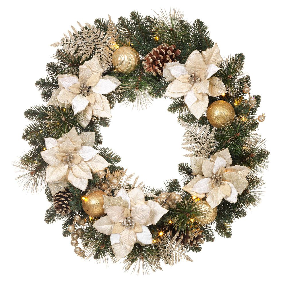 Home Accents Harvest 30-inch Gold Poinsettia Prelit Wreath