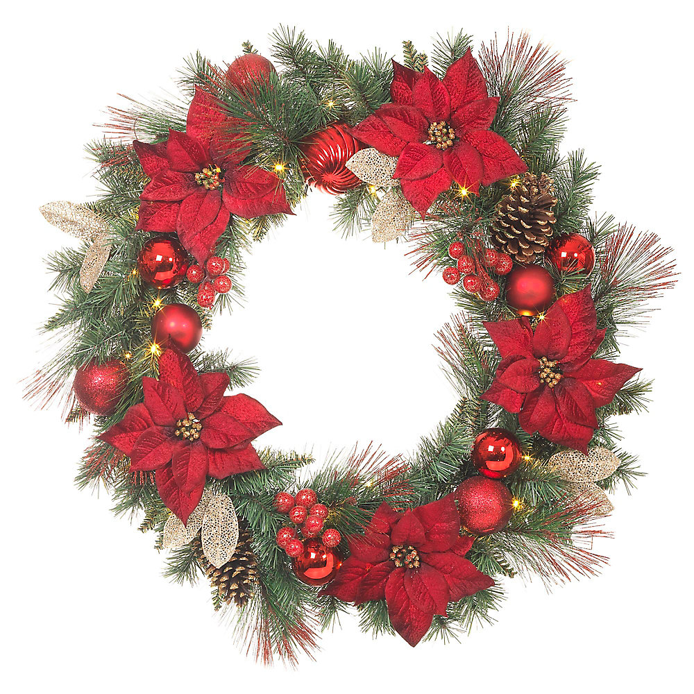 32-inch Red Poinsettia Wreath