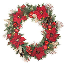 Home Accents Harvest 32-inch Red Poinsettia Wreath