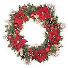 32-inch Red Poinsettia Wreath