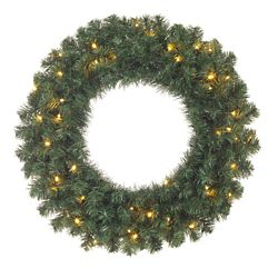 Home Accents Holiday 24-inch Balsam Pine Battery-Operated Wreath