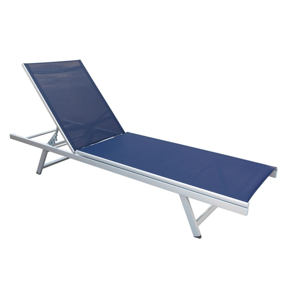 Corliving Gallant Navy Blue Reclining Patio Lounger