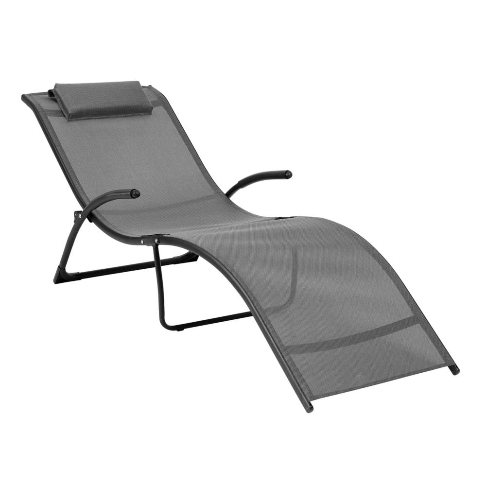 Corliving Riverside Folding Reclined Patio Lounger in Black and Silver Grey