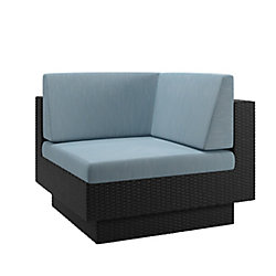 Corliving Park Terrace Corner Patio Sectional Seat in Textured Black Weave