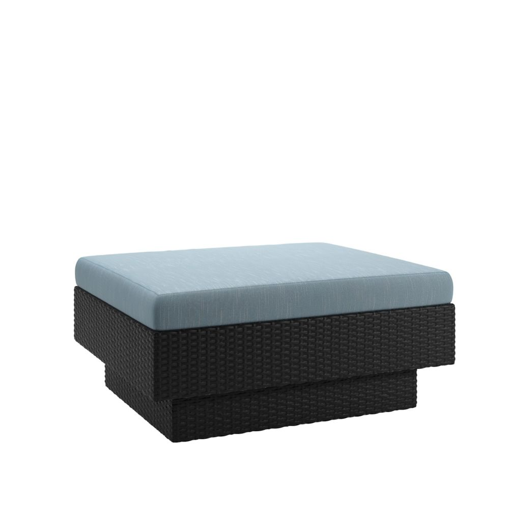 Corliving Park Terrace Patio Ottoman in Textured Black Weave
