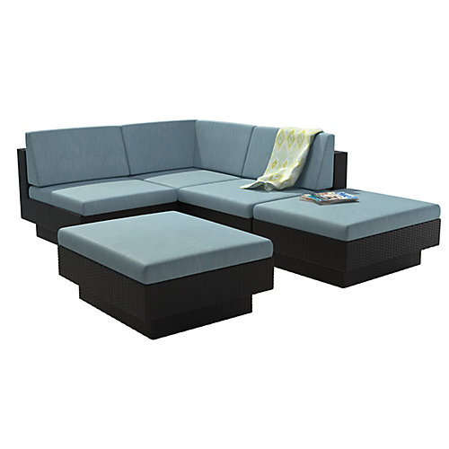 Park Terrace 5-Piece Patio Sectional Set in Textured Black Weave