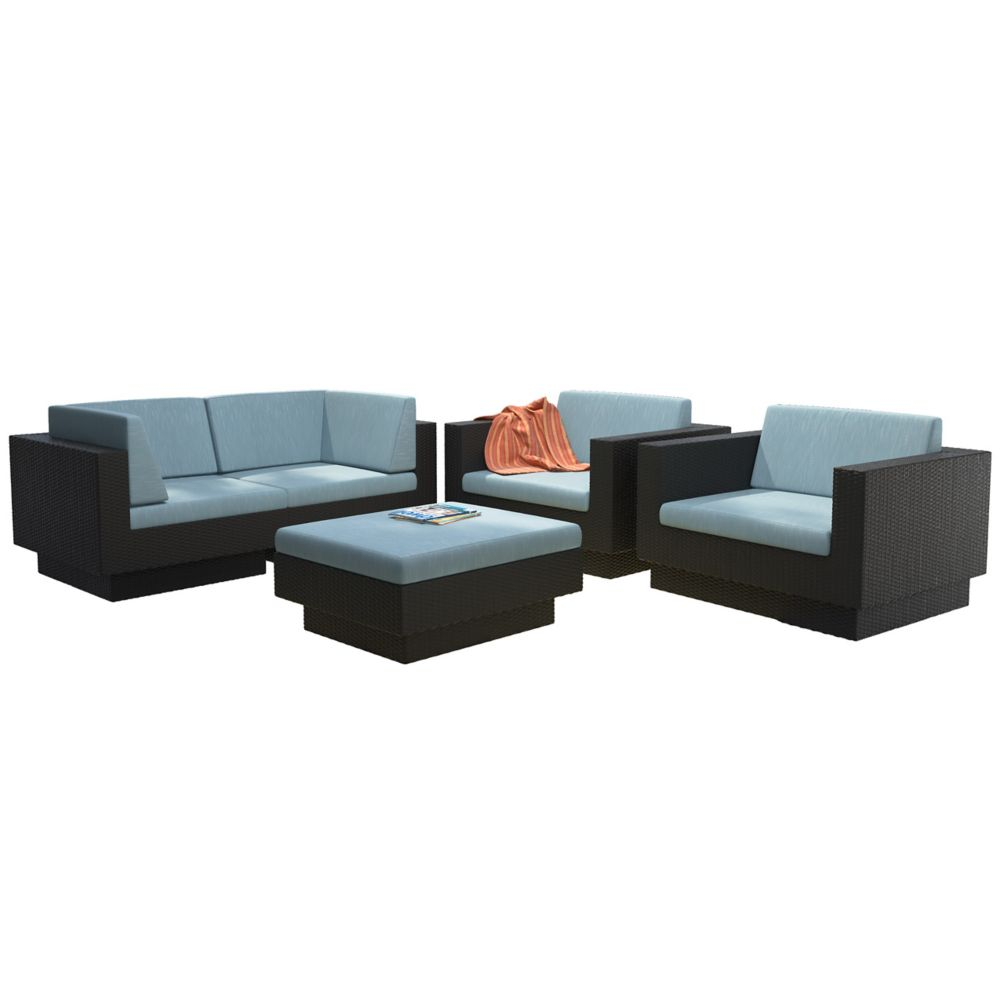Corliving Park Terrace 5-Piece Patio Sofa Set in Textured Black Weave