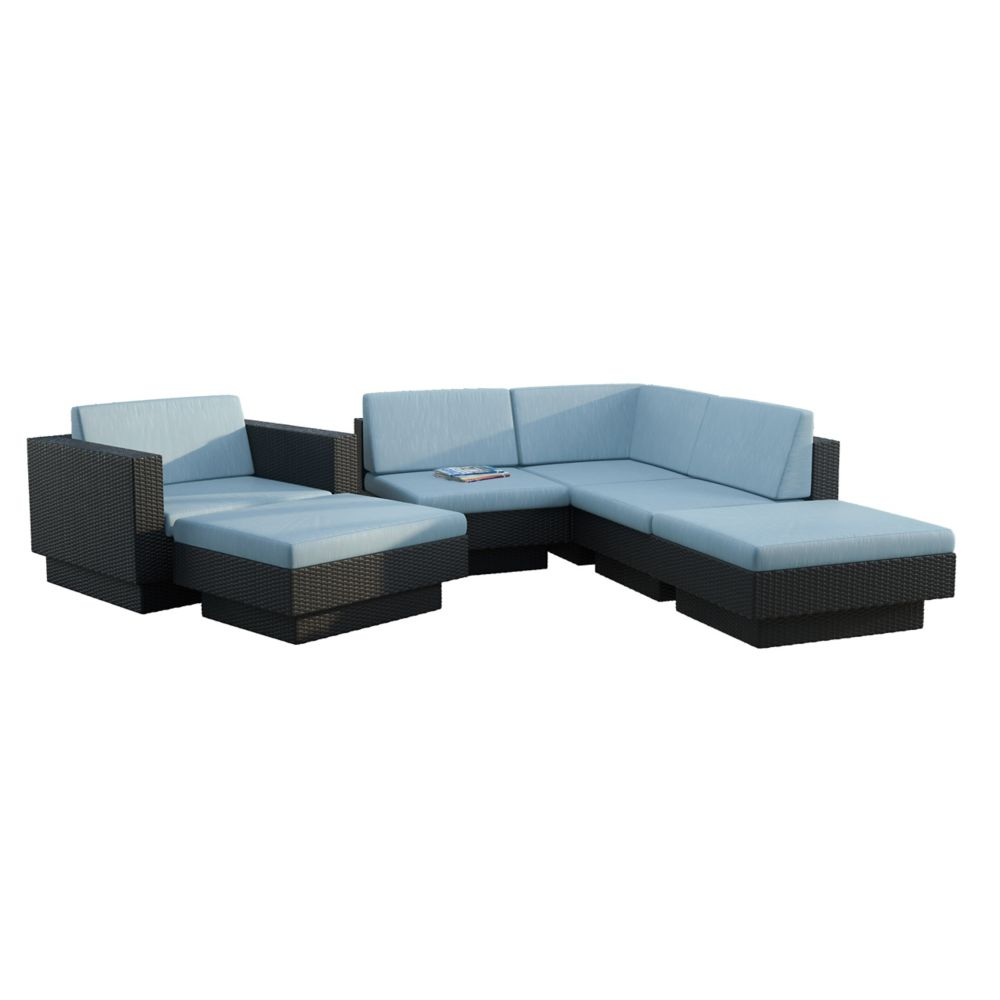 Park Terrace 6-Piece Patio Sectional Set in Textured Black Weave