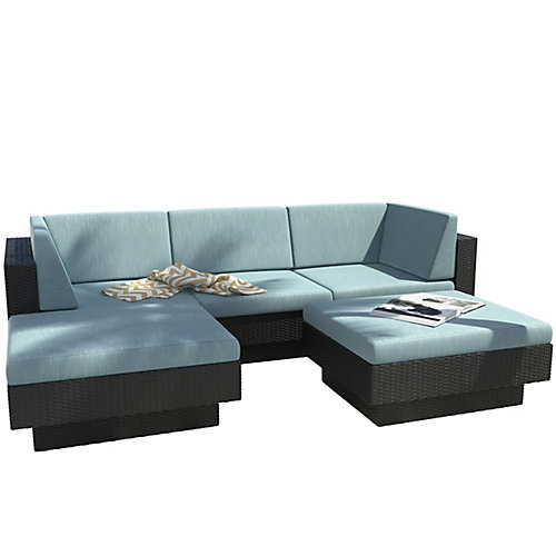 Park Terrace 5-Piece Double Armrest Patio Sectional Set in  Textured Black Weave