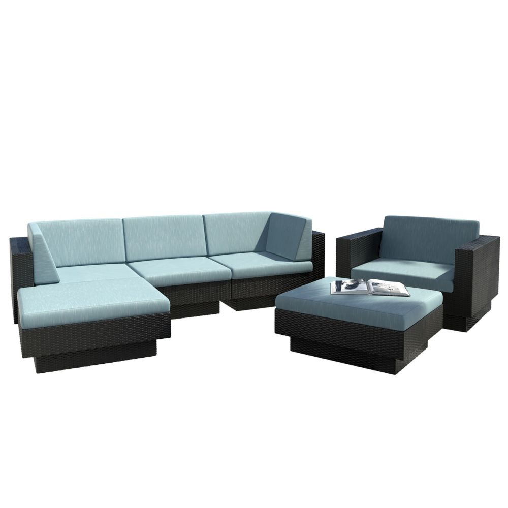 Park Terrace 6-Piece Double Armrest Patio Sectional Set in Textured Black Weave