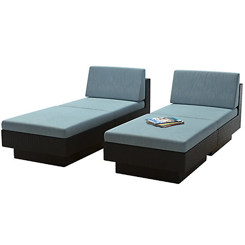 Park Terrace 4-Piece Textured Black Weave Lounger Patio Set