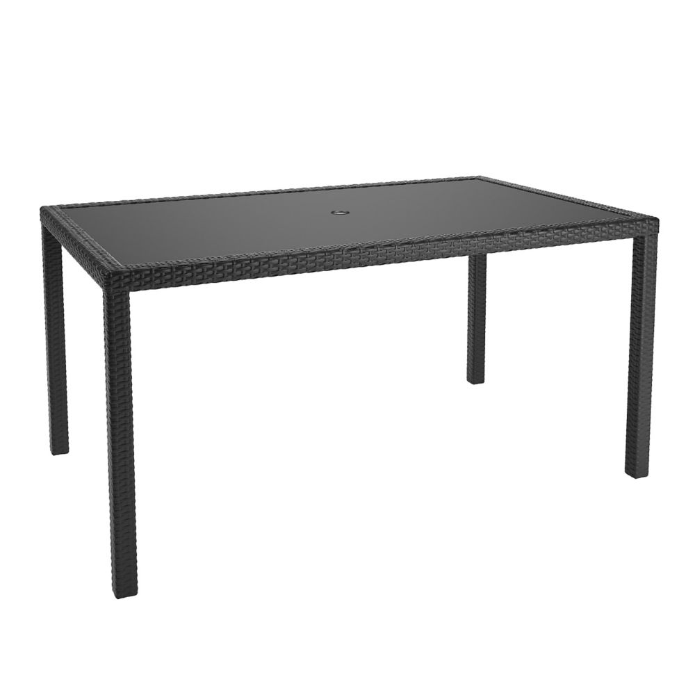Corliving Sonax Park Terrace Patio Dining Table in Charcoal Black Weave