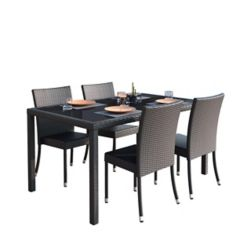 Corliving Sonax Park Terrace 5-Piece Patio Dining Set in Charcoal Black Rope Weave