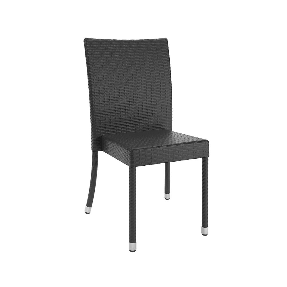 Corliving Sonax Park Terrace Weave Patio Dining Chair in Charcoal Black (Set of 4)