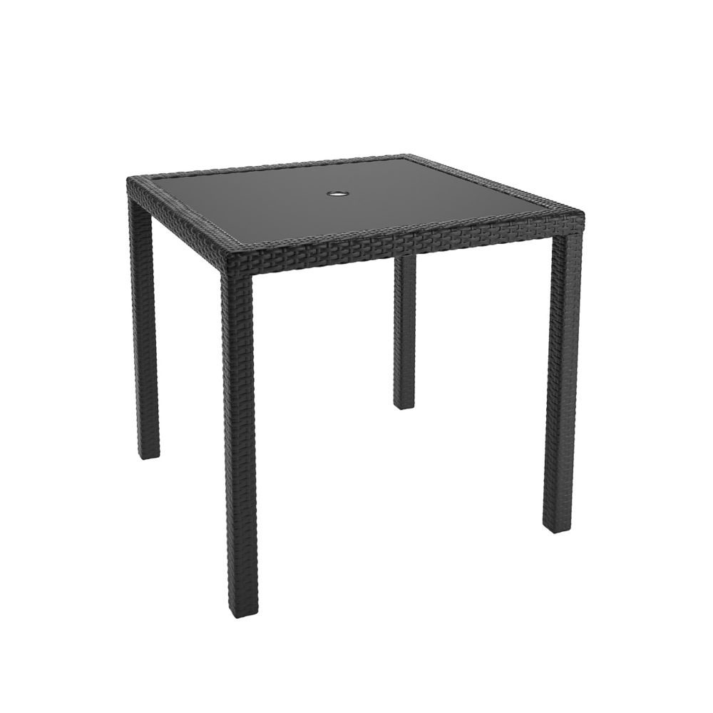 Corliving Sonax Park Terrace Square Patio Dining Table in Charcoal Black Weave