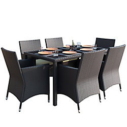 Sonax Park Terrace 7-Piece Patio Dining Set in Charcoal Black Weave